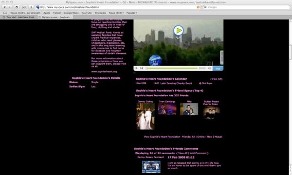 Sophia's Heart Foundation MySpace