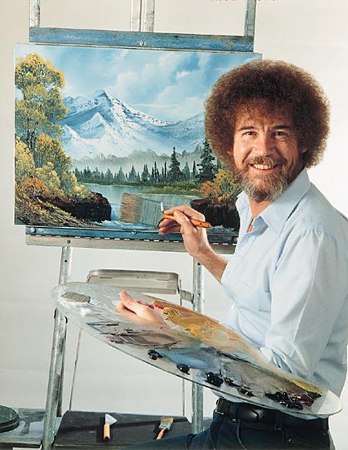 Bob Ross enjoys happy little clouds in heaven