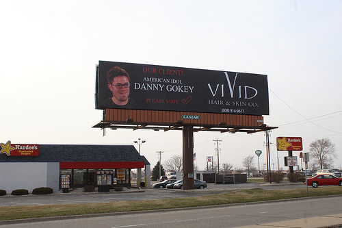 Danny Gokey Billboard for Vivid Hair Salon