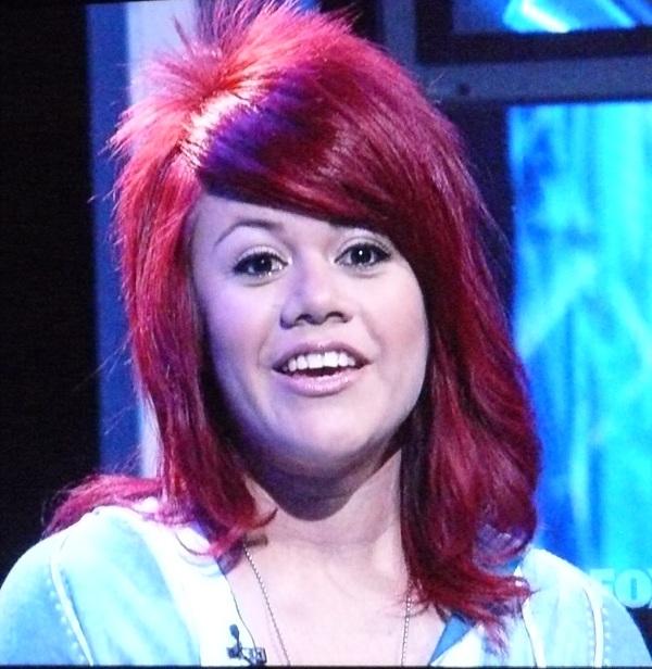 Allison Iraheta has magenta hair that spikes