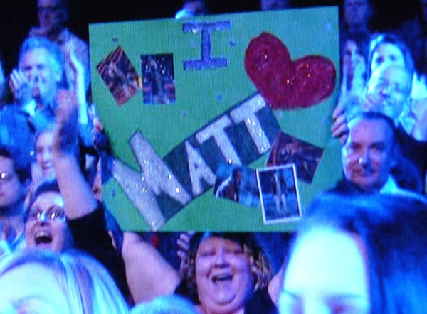 I Love Mole Boy sign in AI audience