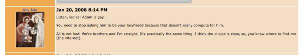 From Adam Lambert's MySpace Comments Thread