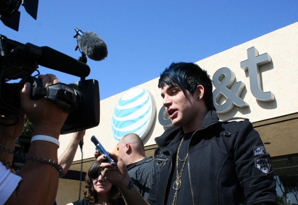 Adam Lambert at an AT&T store in San Diego
