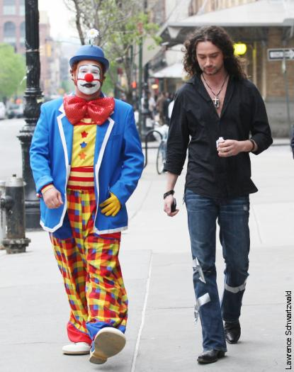 A clown and douchebag (Constantine Maroulis) about town