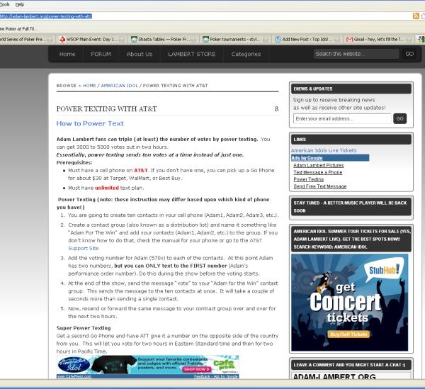 Adam Lambert Fans instruct you how to power text