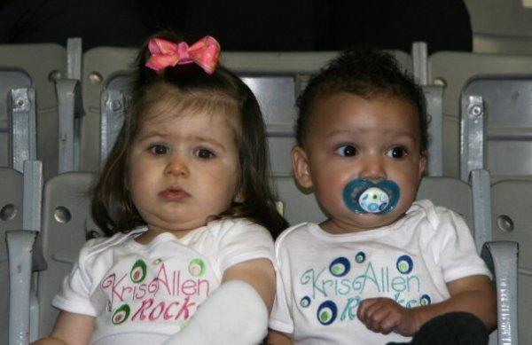 Pissed off babies wearing Kris Allen onesies
