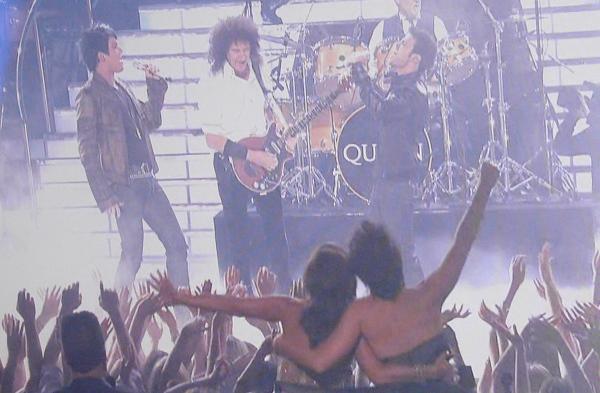 Adam Lambert, Brian May and Kris Allen