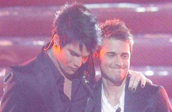 Adam Lambert and Kris Allen await the results