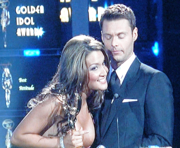 Katrina Darrell gets Seacrest to stare at her brand new implants