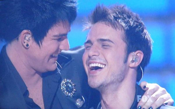 Adam Lambert and Kris Allen share a moment