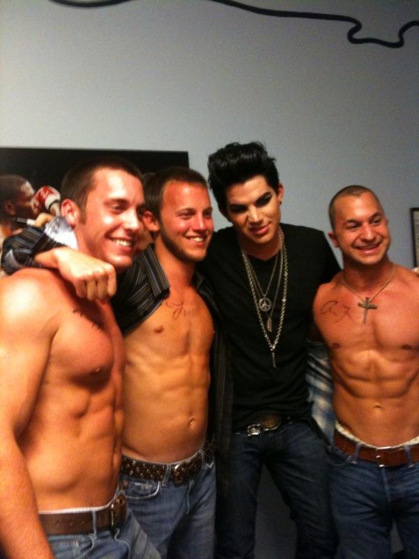 Adam Lambert and shirtless gay dude fans
