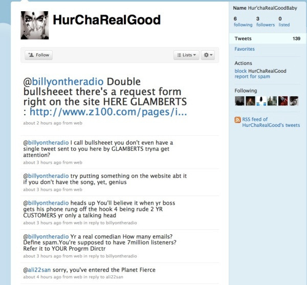 hucharealgood harasses billy the kidd via twitter