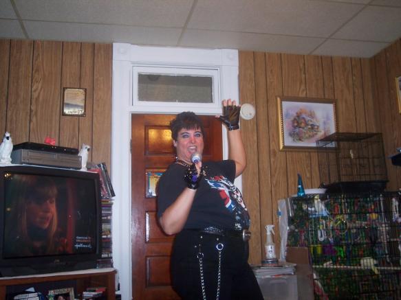 Woman dressed as Adam Lambert
